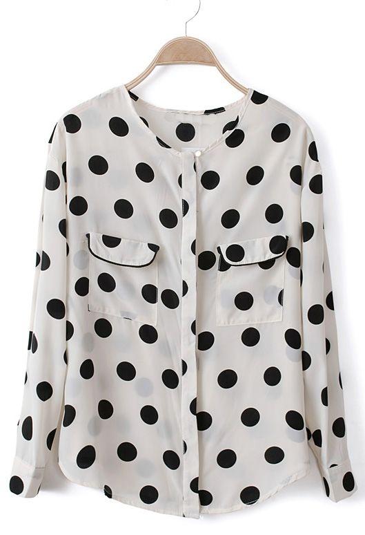 polka dot chiffon blouse