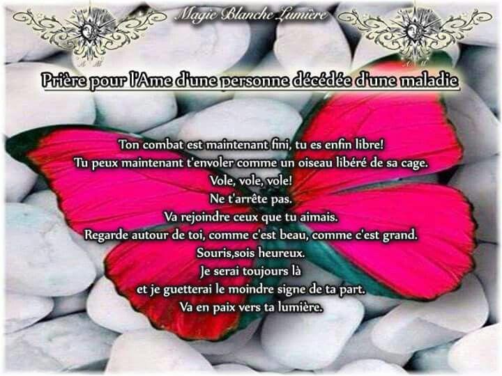 Prière pour l'âme d'une personne décédée d'une maladie  Extrait Page Facebook : Spiritualité, Magie Blanche Lumière