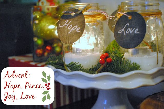 love this idea for an advent wreath. Simple candles in mason jars. Not worried about the color of the candle.