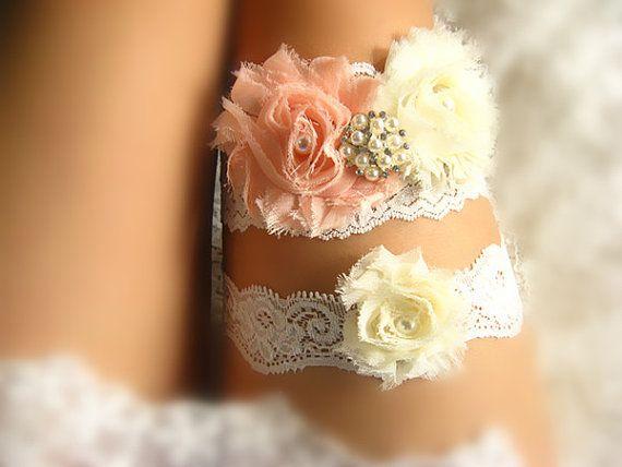 coral bridal garter, wedding garter, bride garter, chic rosette garter, shabby rosette garter, rhinestone garter, toss garter on Etsy, $15.90