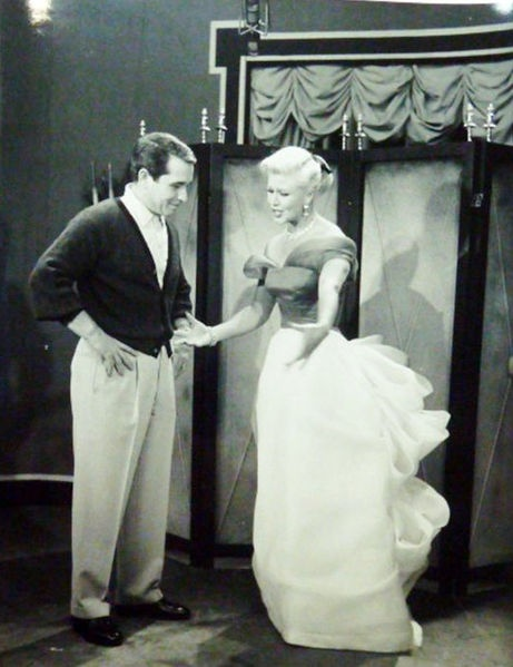 Perry Como and Ginger Rogers at rehearsal for the television program The Perry Como Show.