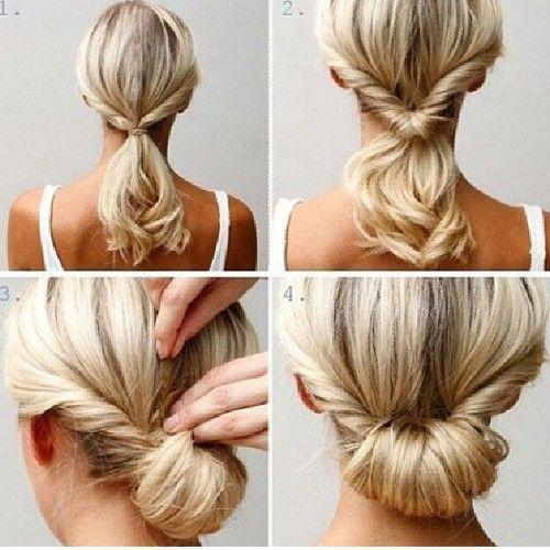 Glamorous Low Bun Hairstyle for Thin Medium-Length Hair