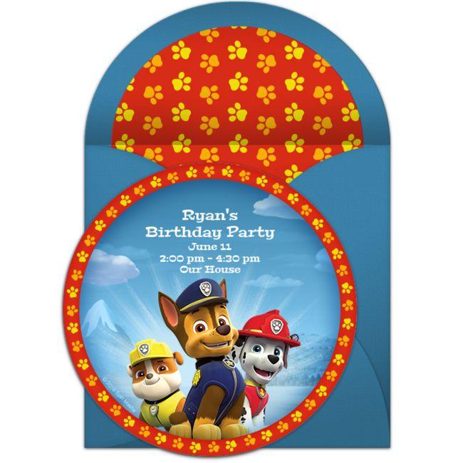 Genial invitación para fiesta temática de Paw Patrol. #invitaciones #Pawpatrol