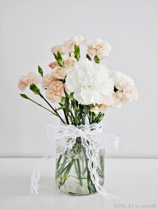 White & Peach Carnations - Shhh, it's a secret!