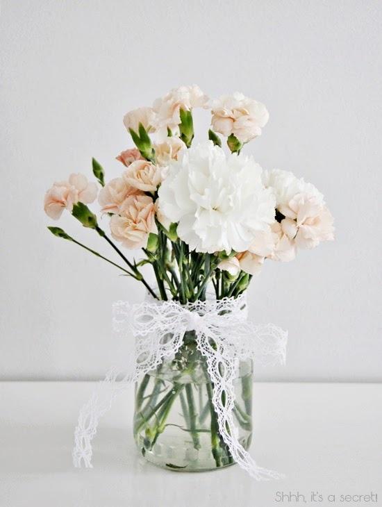 White & Peach Carnations - Shhh, it's a secret!