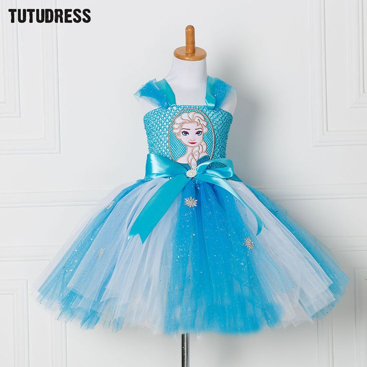 Princess Anna Elsa Dress Tulle Tutu Dress Snow Queen Christmas Halloween Cosplay Costume Birthday Party Vestidos Children Dress  #Affiliate