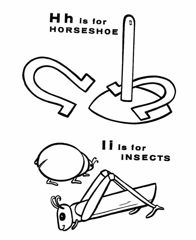 ABC Coloring Sheets, Letter H/I is for Horseshoe / Insects