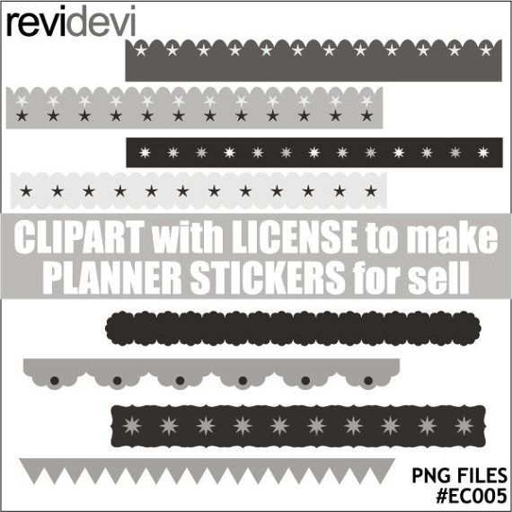 Long ribbons clipart  shades of grey  commercial use by revidevi