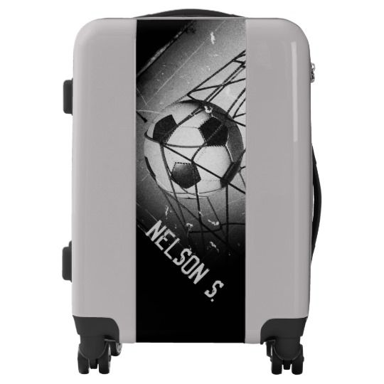 Cool Grunge Football in Goal Personalized Luggage. 100% hard shell poly-carbonate. Available in 3 colors. #personalized#soccer#luggage#suitcase. AFFILIATE LINK
