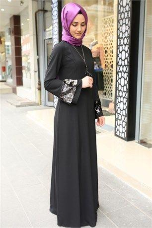 11584c3f4e7ba Famelin-7544-Kolu Payetli Elbise-Siyah | Tesettür Abiye Modelleri in ...