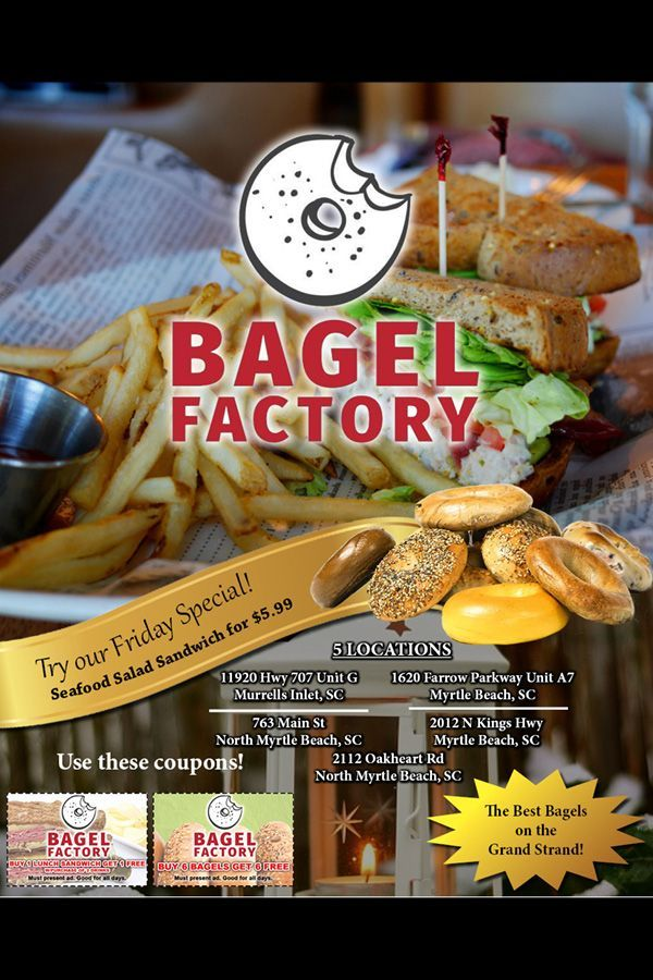 Myrtle Beach Resturants Open On Christmas Eve 2020 Friday Special at The Bagel Factory #sandwichesonabagel in 2020