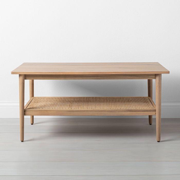 wood cane coffee table hearth