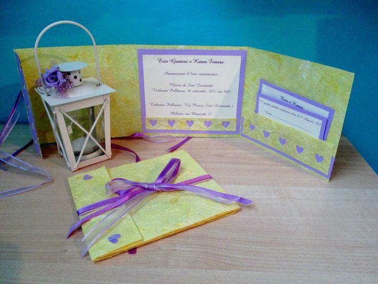 Partecipazioni matrimonio gialle e viola