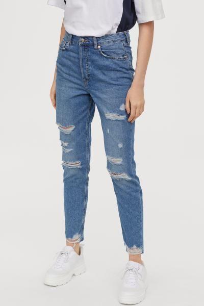 fff2902e3b7f5 H&M Slim Mom Jeans Trashed - Blue in 2019 | Girly Girls | Slim mom ...