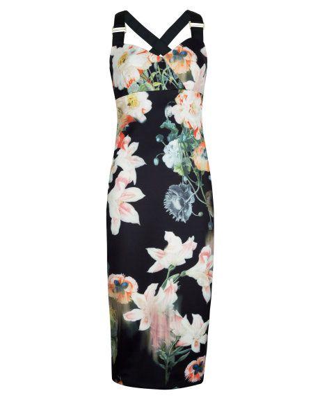 Opulent bloom print dress - Black | New Arrivals | Ted Baker