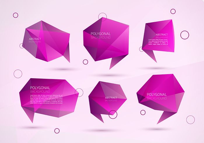 Abstract Polygonal Speech Bubble Vectors