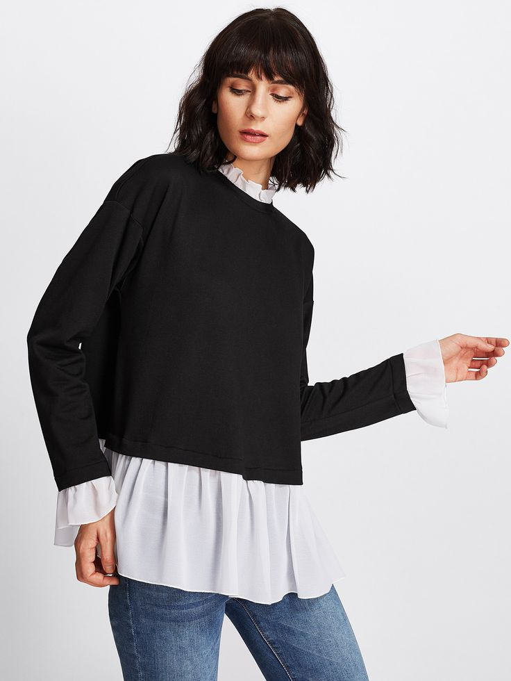 Shop Contrast Ruffle Trim Heather Knit Sweatshirt online. SheIn offers Contrast Ruffle Trim Heather Knit Sweatshirt & more to fit your fashionable needs.