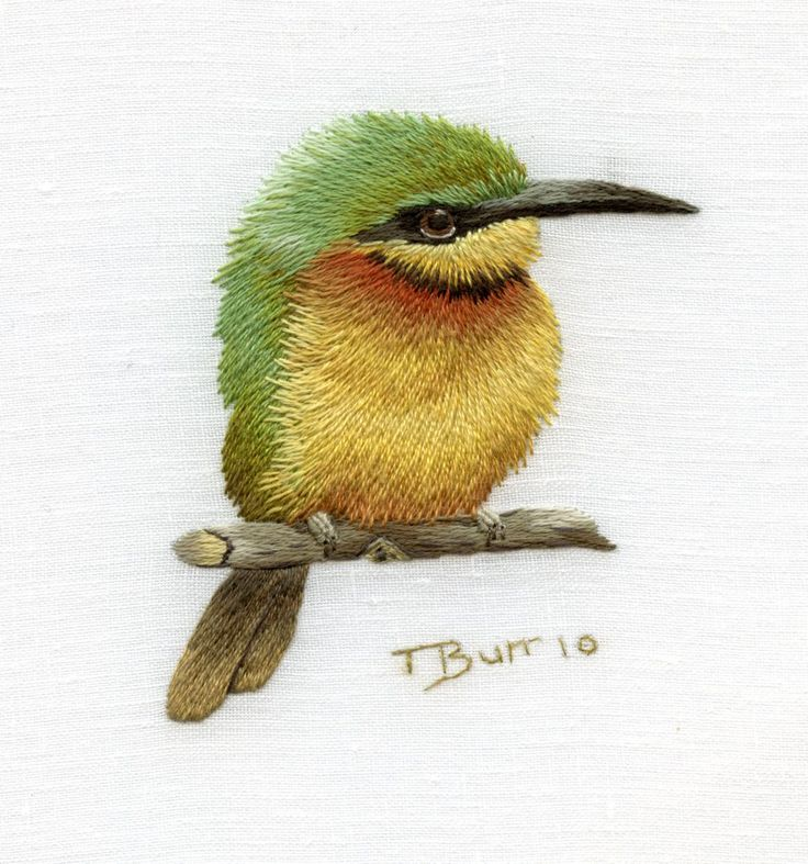 Little Bee Eater embroidery - holy cow: Needle Paintings, Bees Eater, Trish Burr, Art, Beeeater, Crosses Stitches, Thread Paintings, Birds, Embroidery