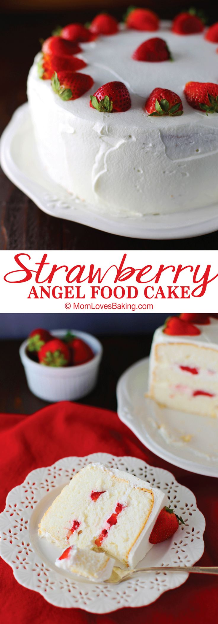 Not only is it a perfect homemade angel food cake with fluffy whipped cream and fresh strawberries, but it's actually low in calories and low in sugar. But not low in flavor. It's just so tasty!