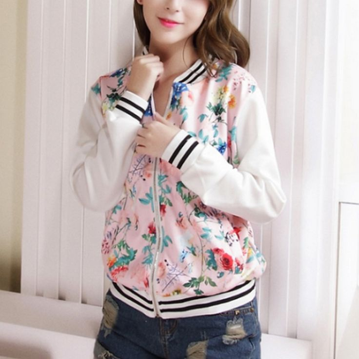 US $12.34 - 13.78 -- Sweet Floral Printing Jacket Cozy 2016 Autumn M-XXL Jacket Girlish Long Sleeve Women Jacket Slim Thin Satin Chaquetas Mujer aliexpress.com