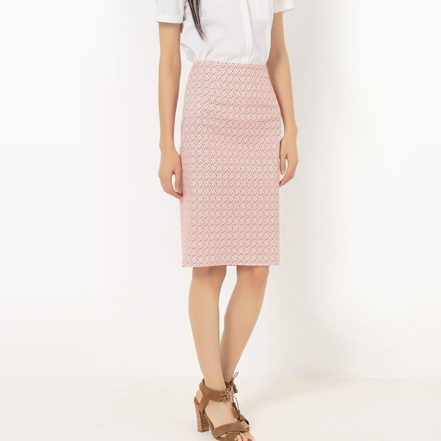 Printed Cotton Satin Pencil Skirt R Edition