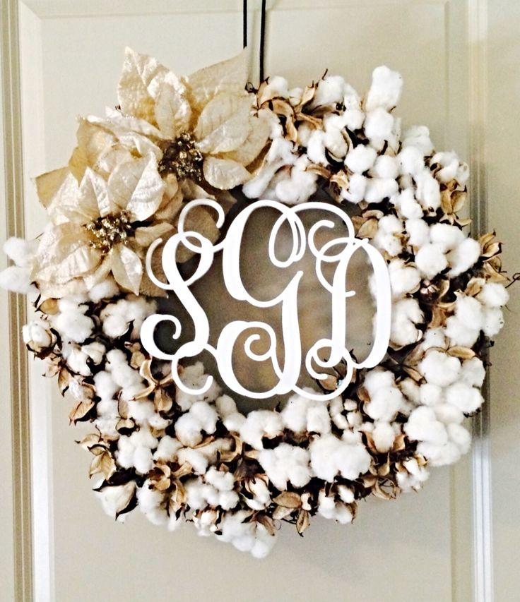 First Wreath Raw Cotton Hot Glue White Spray Paint