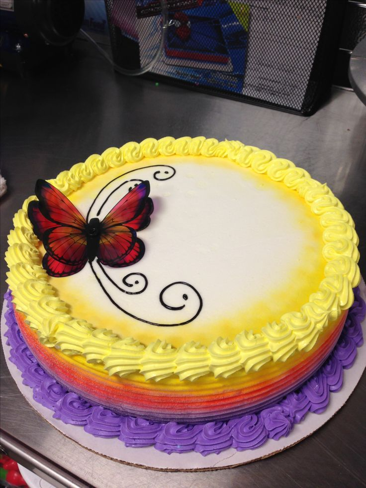DQ ice cream cake with butterfly