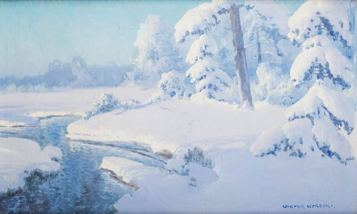 WIKTOR KORECKI (1890 - 1980)  PEJZAŻ ZIMOWY   olej, płótno / 51 x 80 cm