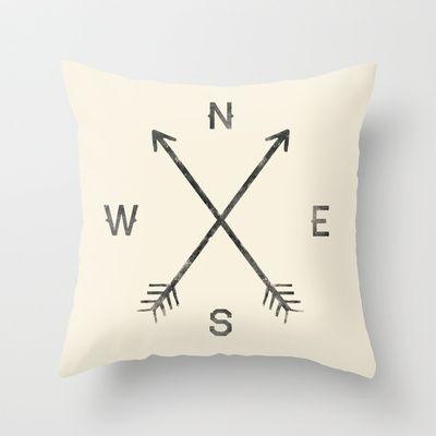 Compass (Natural) Throw Pillow by Zach Terrell - $20.00