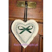 Saszetka z lawendą - haftowane serce - kochamkropki-kwiat lawendy