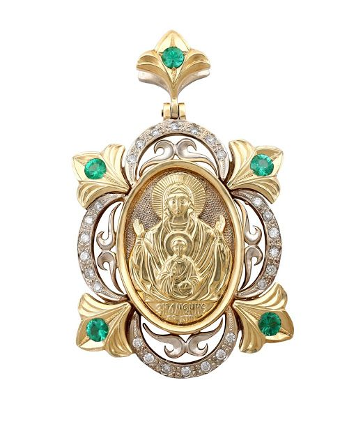 SKU # | 18k WG YG PENDANT (religion) w/ EM, DIA | Pendant with 5 emerald 1.18ct total weight and 26 diamonds 0.57ct total weight, in white and yellow gold | size medium, total weight 18.35gr, weight gold 18.0gr | exlusive jewelry designed by Andrey Gorodnichev | #JewelryPinterest #exlusive #jewelry #pendant #religion #18k #gold #whitegold #wg #yellowgold #yg #gemstone #carat #ct #emerald #em #diamond #dia jewelry.production1997@gmail.com