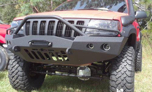 Jeep Grand Cherokee Wj Winch Front Steel Custom Bumper 4 Lights Jeep Wj Jeep Grand Cherokee Jeep Bumpers
