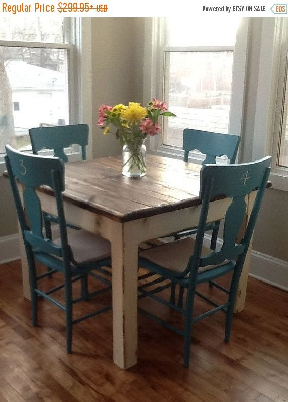 WINTER SALE Beautiful Primitive Distressed Rustic Dark Walnut Stain Country White Cabin Farmhouse 42x42x31h Kitchen FARM House Table Custom