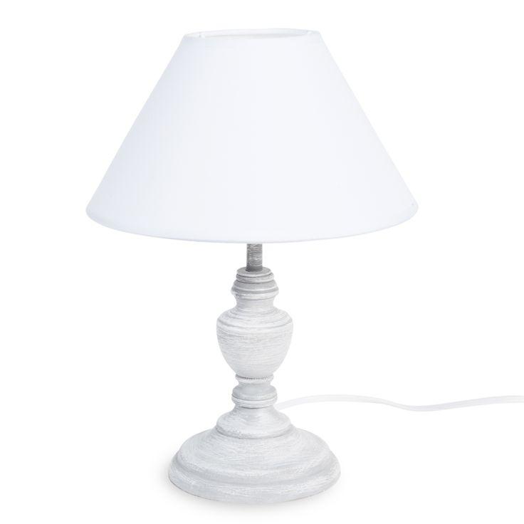 Houten GARANCE lamp met witte stoffen lampenkap H 28 cm