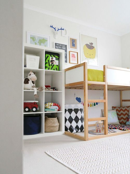 Kids bedroom with loft bed, Playspace, IKEA Expedit or Kallax shelf cubby storage organization