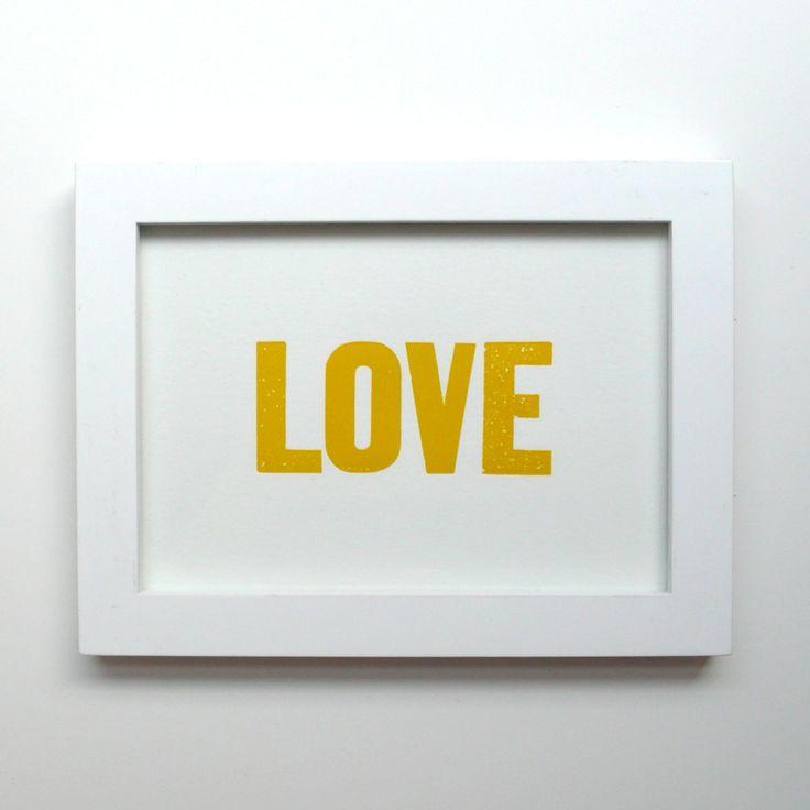 LOVE Letterpress Print Yellow