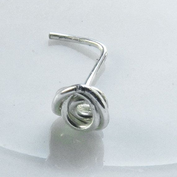 Mini Tiny Rose Flower Spiral Nose Ring Silver Plated 22 Gauge