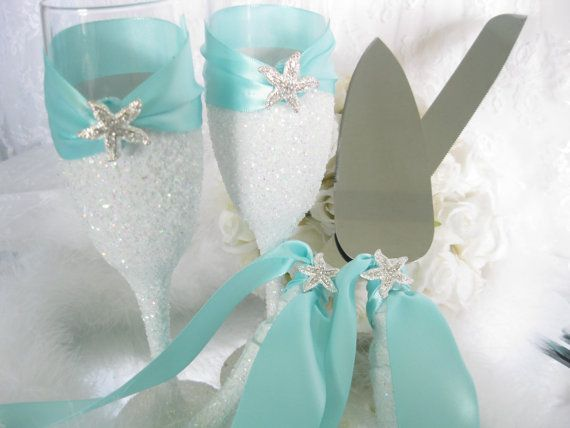 Elegant Cake Servers & Toasting Flutes Set...    Weddings, Vases, Centerpieces, Bridal Shower Decorations, Baby Shower Decorations or any of Lifes