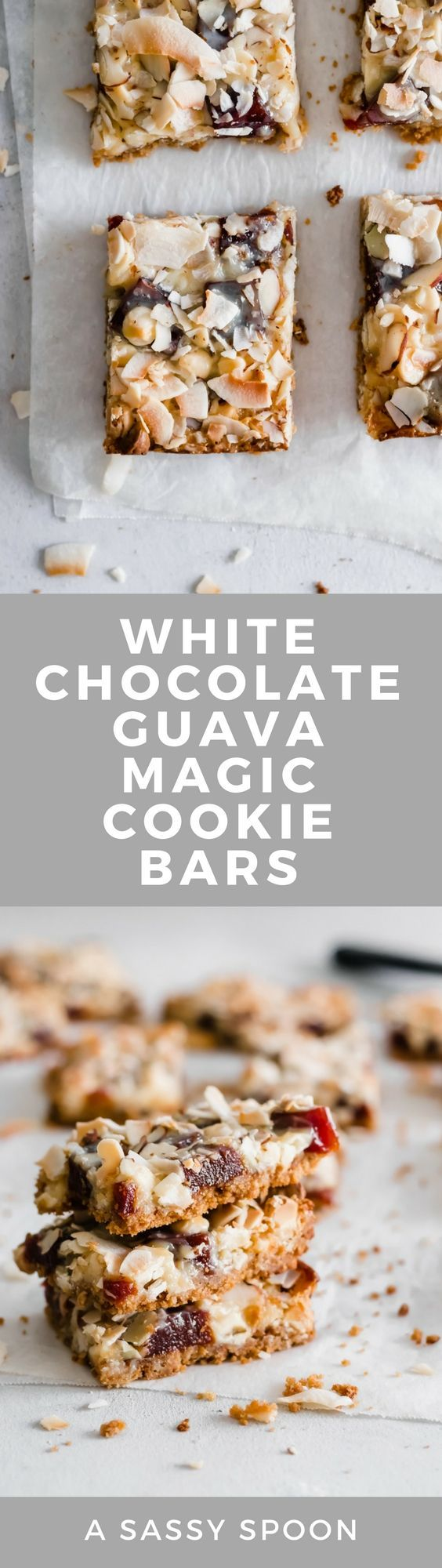 Classic magic cookie bars with a Cuban twist! Maria cookie crust, sweetened condensed milk, cubed guava paste, white chocolate chips, sliced almonds, and toasted coconut flakes.