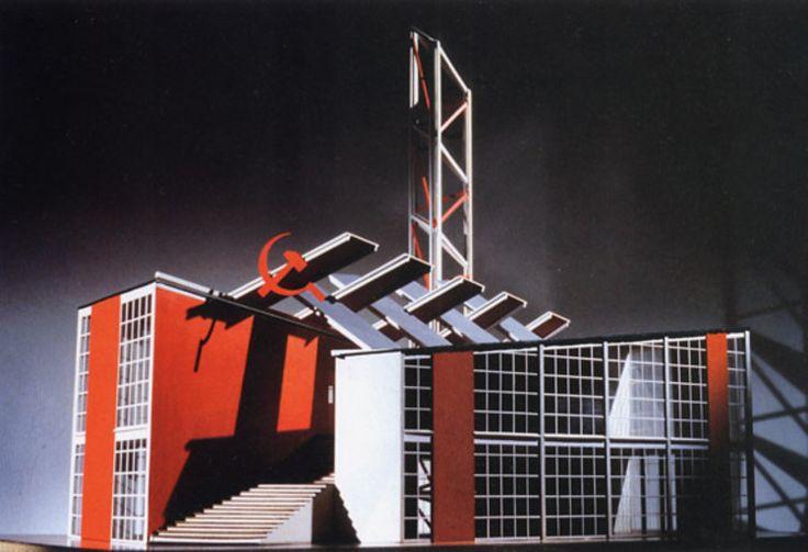 """""""Pabellón Soviético para la Exposición Internacional de Artes Decorativas e Industrias Modernas en París"""" (1925), del autor soviético  Konstantín Melnikov."""