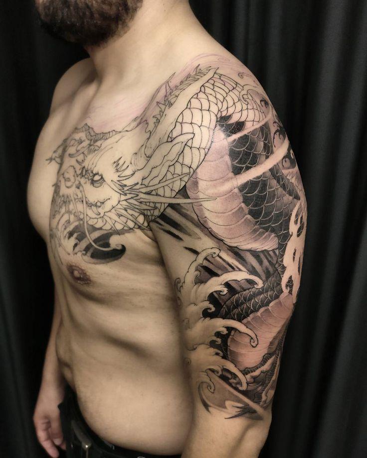 "1,587 Likes, 8 Comments - David Hoang (@davidhoangtattoo) on Instagram: ""Dragon in progress. #chronicink #asiantattoo #asianink #irezumi #tattoo #dragon"""