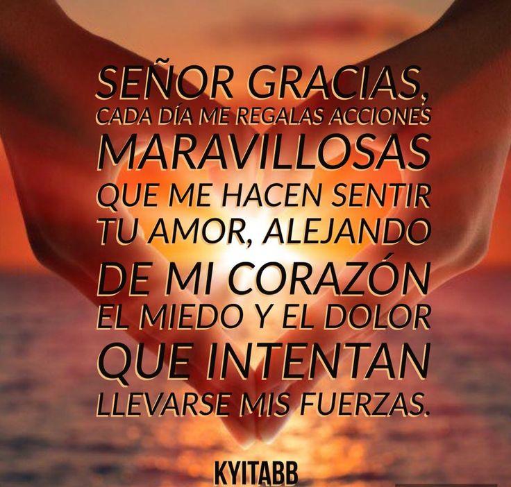 #Señor #gracias,  Cada día me regalas acciones maravillosas que me hacen sentir tu amor, alejando de mi corazón el miedo y el dolor que intentan llevarse mis fuerzas.