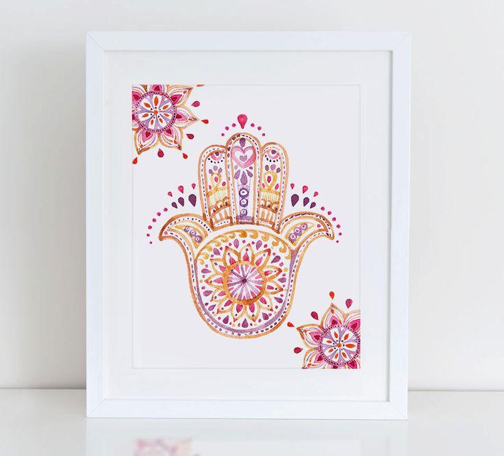 Hamsa Art Print, Hamsa Watercolor Art, Hamsa Printable, Instant Download, Printable Home Decor, Digital Art Print by DecorartDesign on Etsy https://www.etsy.com/listing/260189333/hamsa-art-print-hamsa-watercolor-art