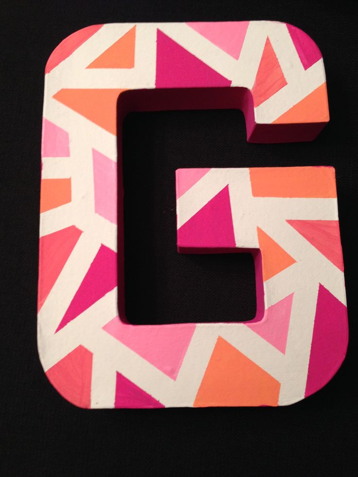 Cardboard letter, paint and blue painter's tape!