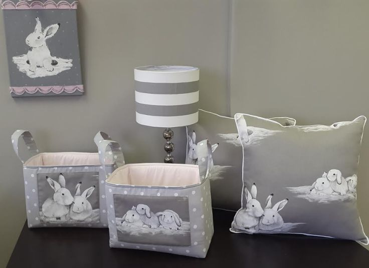 For #BunnyTheme nurseries, we also offer fabric storage organisers, scatter cushions and paintings!   #BabyBedding #BabyLinen