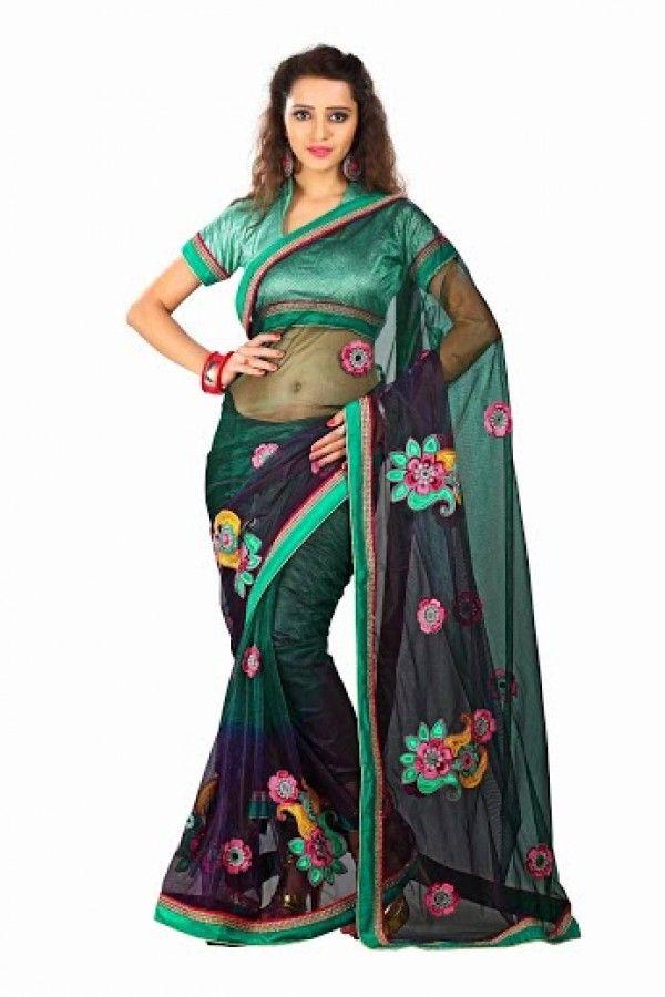 #Green with #Purple Embroidered Net #Saree with Blouse Grab Here @ http://goo.gl/LA1zaw #NaarikeSangVastrang