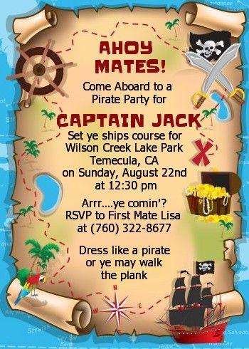 Pirate Treasure Map - Birthday Party Invitations