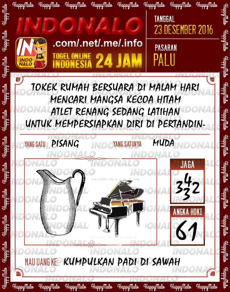 Angka Main 6D Togel Wap Online Live Draw 4D Indonalo Palu 23 Desember 2016