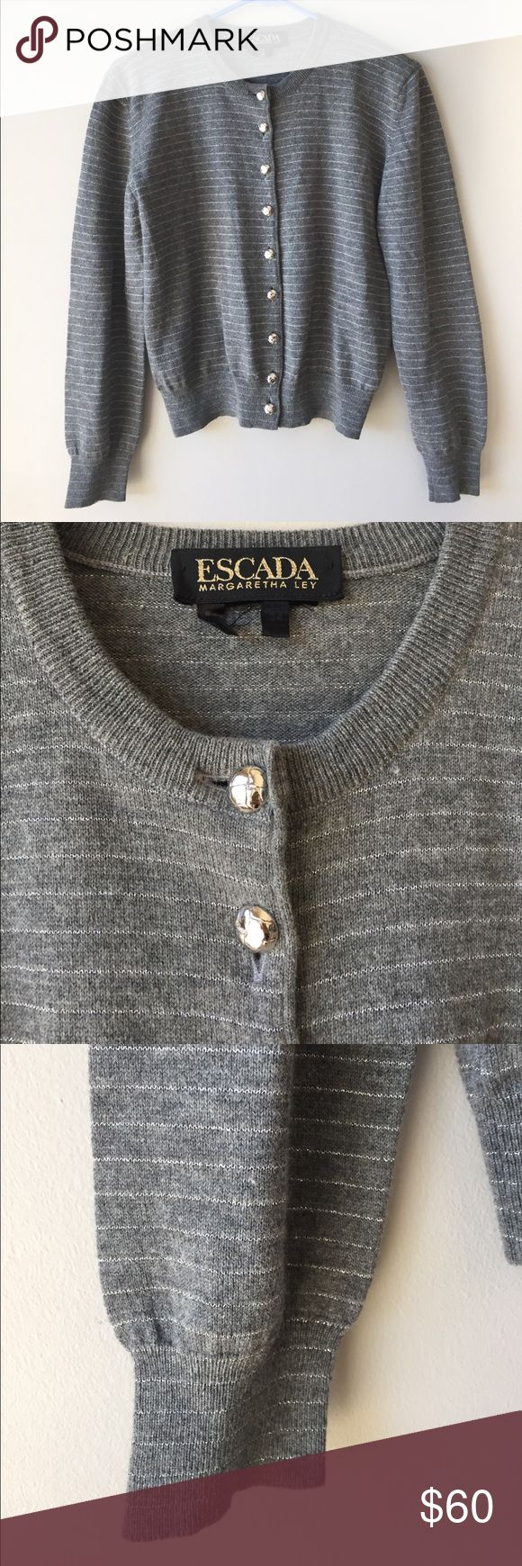 Escada Margaretha Ley Cardigan Sweater Escada Margaretha Ley gray and silver striped Cardigan Sweater. Size 34. Great condition. Measurements:  Chest (laying flat, across the front, pit to pit): 19in Sleeve length: 22in Length: 20in Escada Sweaters Cardigans