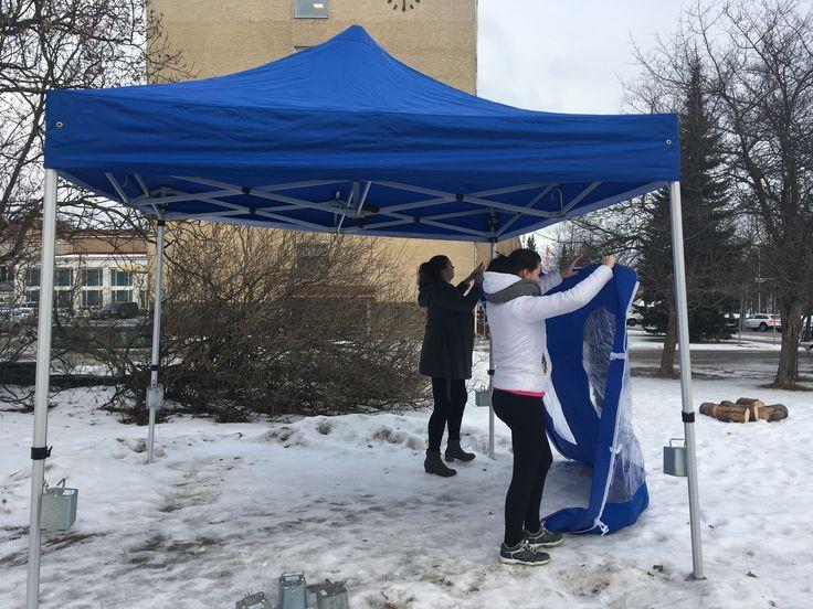 Talvikahvilan teltan kasausta -Anna